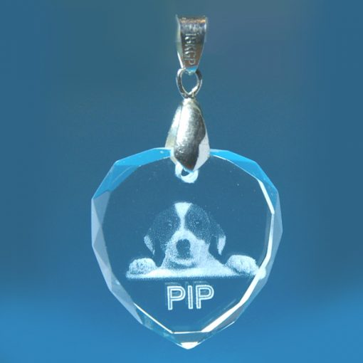 2D Crystal Photo Heart Pendant