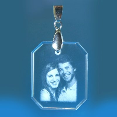 2D Crystal Photo Rectangle Pendant